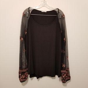 Feminine Black Tulle Embroidered Floral Top Plus